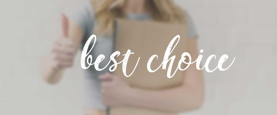 Lady holding a folder saying best choice