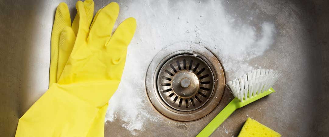Cleaning supplies in a kitchen sink