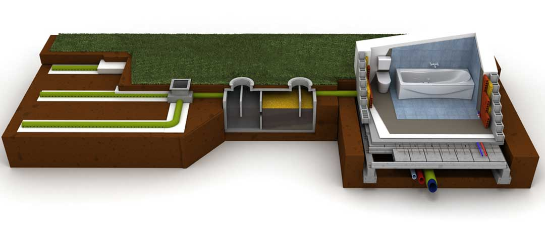 Cut away view of a home septic system