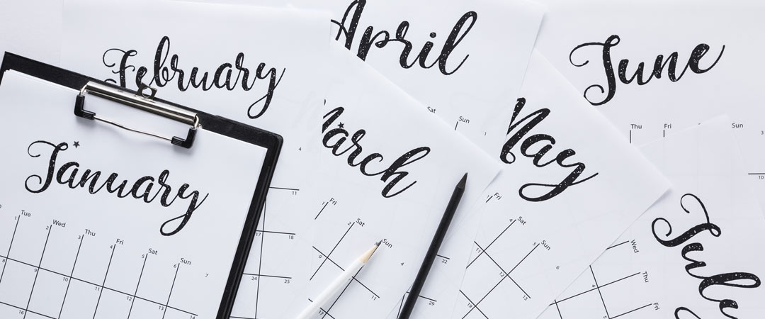 Calendar Months with Pencil